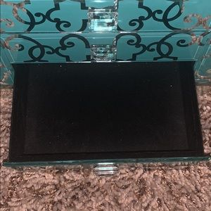 teal desk organizer/ jewelry holder